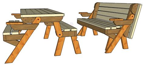 convertible table  bench   woodworking plansd