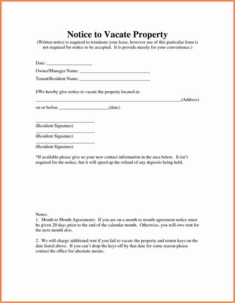 sample letter notice  vacate rental property