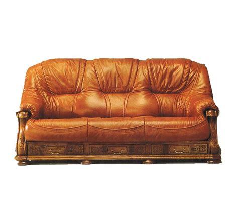 canape cuir bois canapé 3 places cuir et bois avec tiroir anvers mobilier