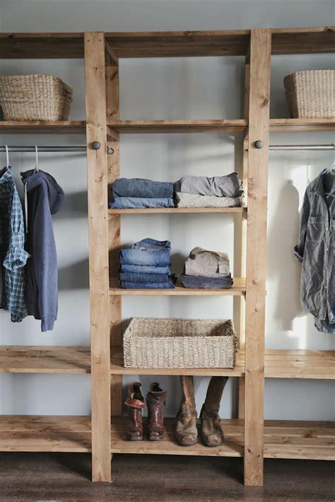 diy industrial style wood slat closet system