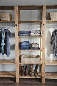 diy closet ideas DIY Industrial Style Wood Slat Closet System with Galvanized Pipes | Home Design, Garden ...