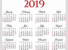 2019 Calendar Transparent PNG Image Gallery Yopriceville