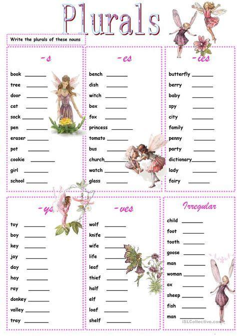 plurals worksheets images plurals plurals