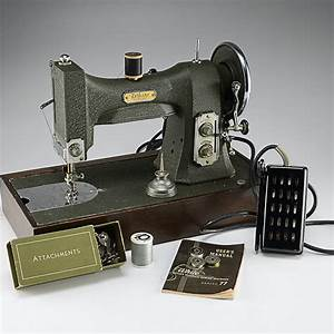 Vintage White Rotary Electric Sewing Machine  Series 77