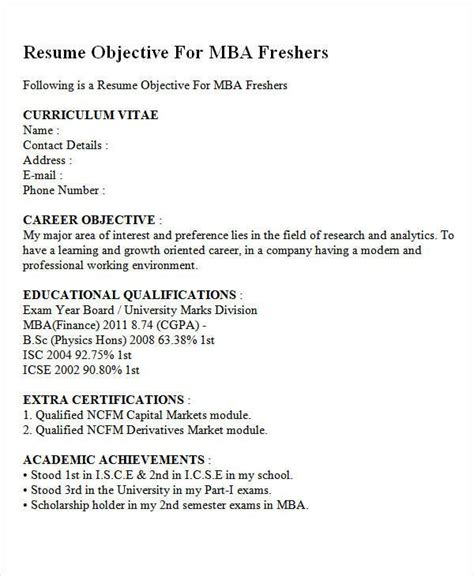 career objective  mba finance fresher resumes