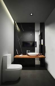 la salle de bain noir et blanc les dernieres tendances With carrelage adhesif salle de bain avec eclairage led pour sous sol