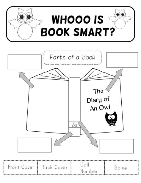 parts of a book worksheet for preschool parts of a book