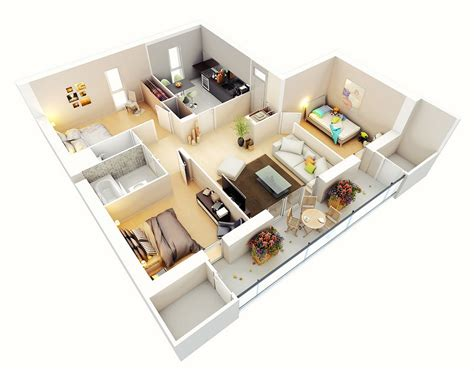 Three Bedroom House/apartment Floor Plans