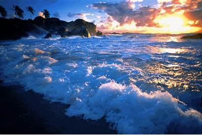 Waves Sunset Crashing Colorful Gifs Moving Animated