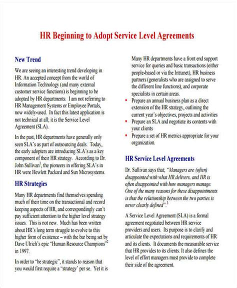 hr agreement samples templates   ms word