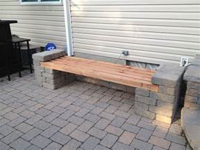 patio block and wood bench design front