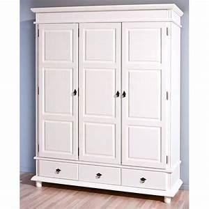 Armoire Chambre Blanche : armoire 3 portes 3 tiroirs en bois massif provence 3 blanche achat vente armoire de ~ Teatrodelosmanantiales.com Idées de Décoration
