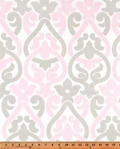 Pale bella light pink gray white alex damask floral curtains for Light pink and gray curtains