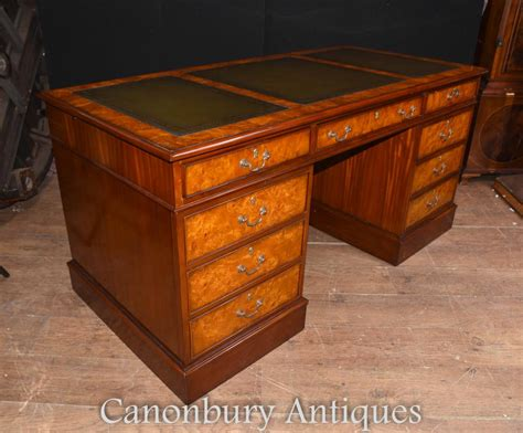 table bureau regency walnut knee pedestal desk writing table bureau