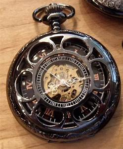 Black Pocket Watch With Chain Personalized Engravable ...