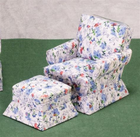 floral print chair ottoman s dollhouse miniature