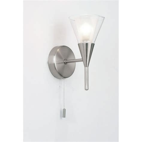 mid century wood chrome and glass wall lights set of 2