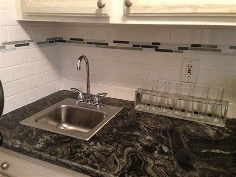 glass subway tile backsplash kitchen white subway tile with glass accent backsplash our house