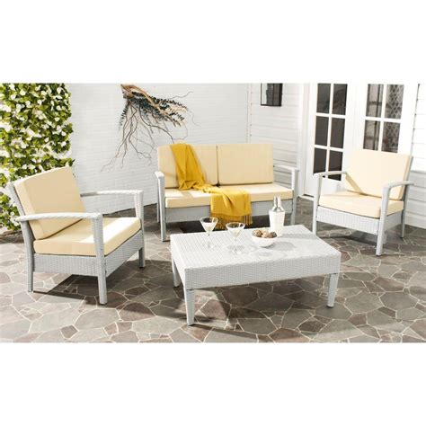 safavieh home safavieh piscataway gray 4 rattan patio seating set