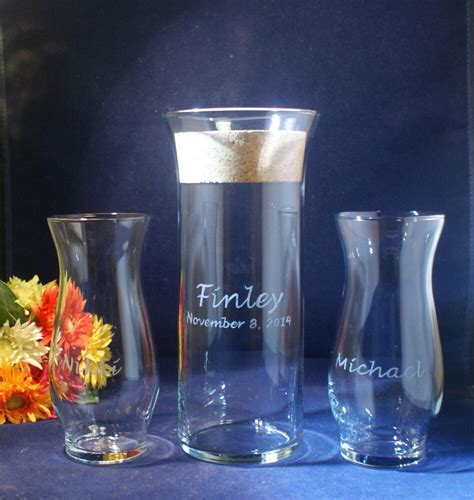 Unity Sand Vases With Lids by 3 Sand Ceremony Set With 9 X 3 Flared Lip Vase Cork