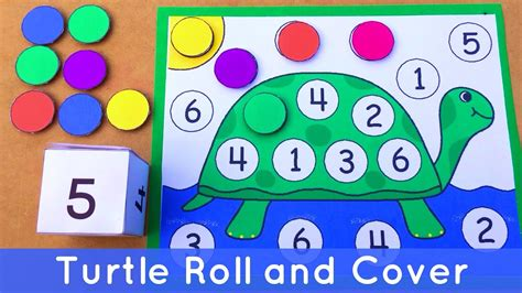 turtle roll and cover preschool number activity for math 464 | maxresdefault