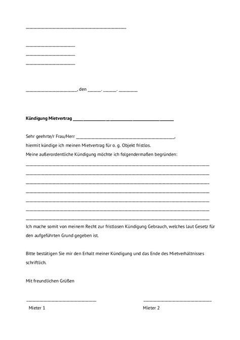 vorlage kündigung mietwohnung durch mieter au 223 erordentliche k 252 ndigung mietvertrag jobruf