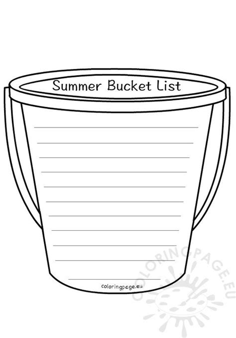 school year summer bucket list coloring page