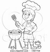 Cooking Grill Boy Bbq Clipart Happy Illustration Coloring Royalty Lineart Pages Visekart Vector Illustrations Clipartof sketch template