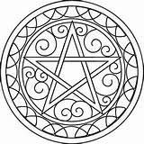 Pentacle Coloring Pagan Mandala Wiccan Embroidery Pentagram Paper Cross Pyrography Adult Symbols Crafts Urban Colouring Adults Printable Unique Stitch Urbanthreads sketch template