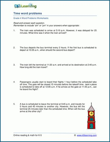 grade 4 time word problem worksheets k5 learning