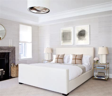 Bed With White Nightstands by White Upholstered Bed With Footboard And Brass And Mirror