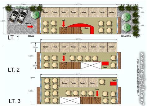 desain layout food court  lantai  lahan memanjang
