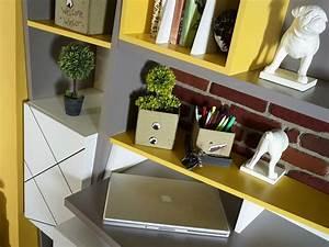 Design Schreibtisch Weiß : cooler design schreibtisch in wei grau gelb vector in trendigem design ~ Heinz-duthel.com Haus und Dekorationen