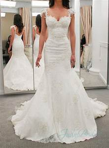 jol274 sexy lace cap sleeves low back mermaid wedding With sexy back wedding dress