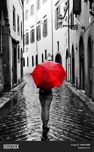 Woman Red Umbrella On Cobblestone Image & Photo | Bigstock
