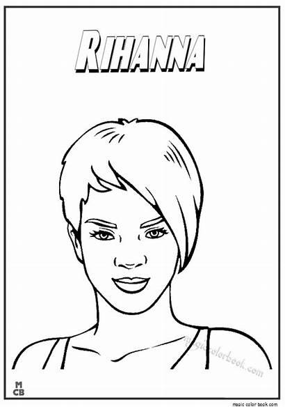 Coloring Rihanna Famous Popular Magiccolorbook