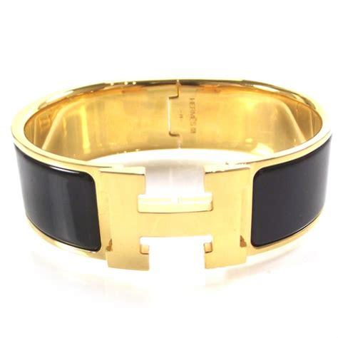 hermes enamel clic clac h bracelet wide black 19176