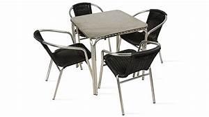 Table Et Chaises De Terrasse 4 Personnes Alu Et Rsine
