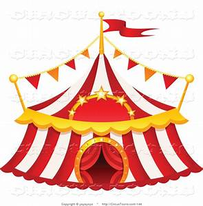 Circus Clipart of a Red and White Striped Big Top Circus ...