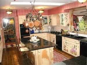Amazing Kitchen Storage Hanger Over Black Granite Top