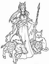 Freyja Norse Goddess Coloring Pages Ii Colouring Deviantart Mythology Drawings Draw Uploaded User Painting Tattoo sketch template