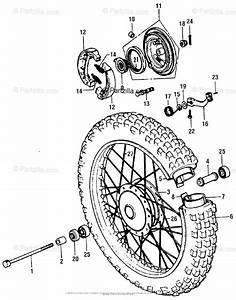 Honda Motorcycle 1976 Oem Parts Diagram For Front Wheel