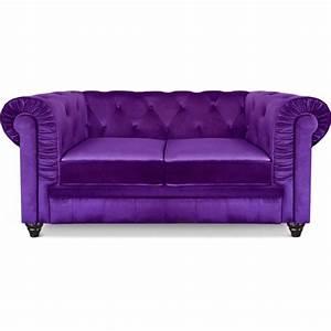 canape 2 places chesterfield velours violet pas cher With canapé 2 places violet