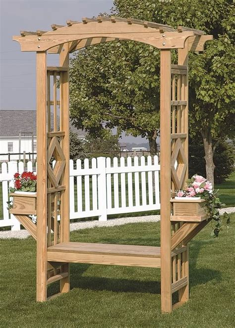 Garden Bench With Trellis by Outdoor Wooden Garden Arbor Trellis Arches Bench Amish