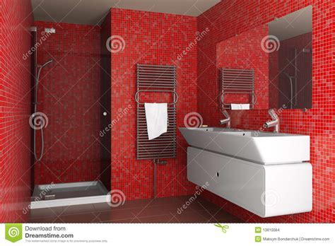 Modern Bathroom With Red Mosaic Tiles Stock Images   Image