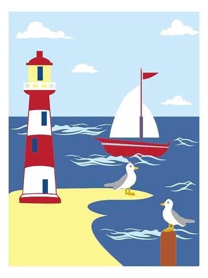 Lighthouse Seaside Leuchtturm Scene Faro Clipart Meer