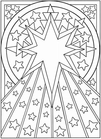 Coloring Moon Stars Sun Pages Adult Star
