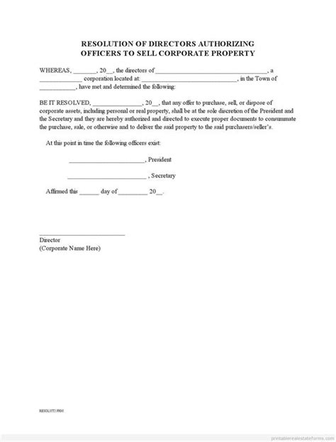 corporate resolution template sle printable corporate resolution to sell property form sle real estate forms