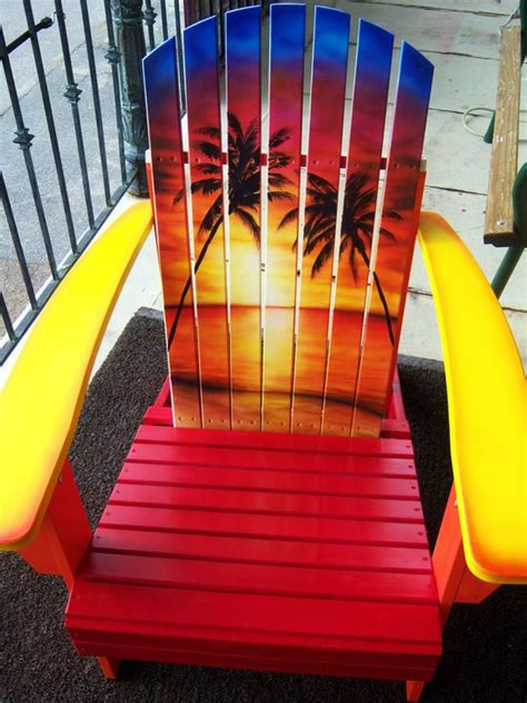 items similar to sunset adirondack chair painted on etsy