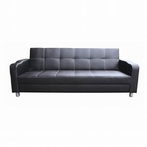 Classic 3 seat pu leather sofa bed couch in black buy for Buy leather sectional sofa bed